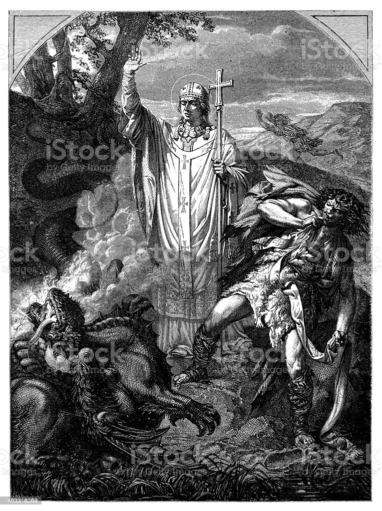Antique illustration of Saint Romain or Romanus de Rouen royalty-free stock vector art