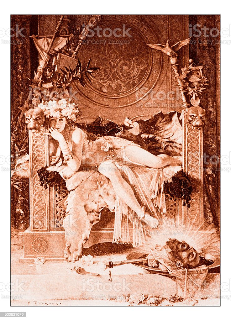 Antique illustration of 'Salome triomphante' by Toudouze vector art illustration