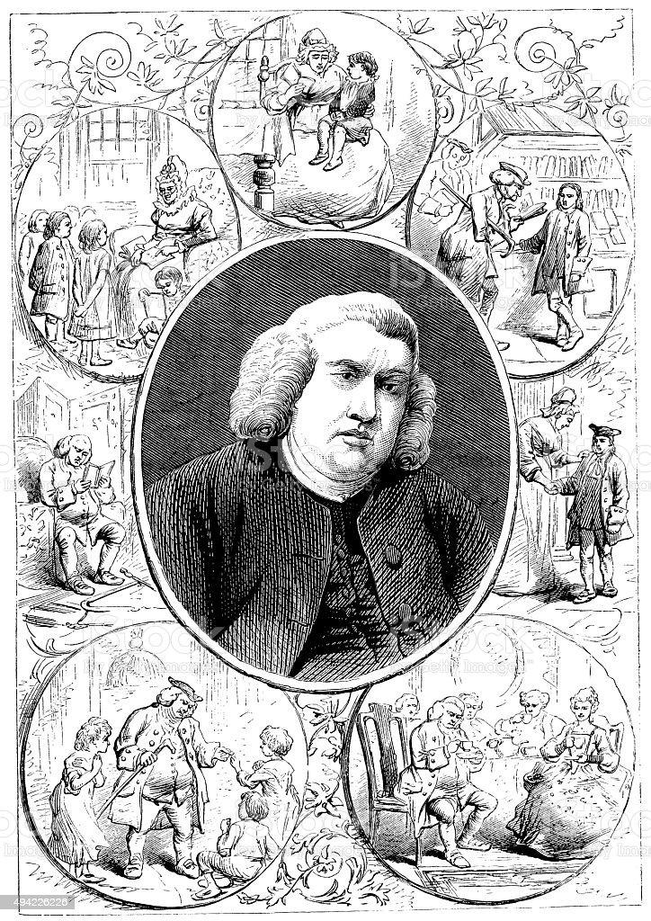 Antique illustration of Samuel Johnson vector art illustration