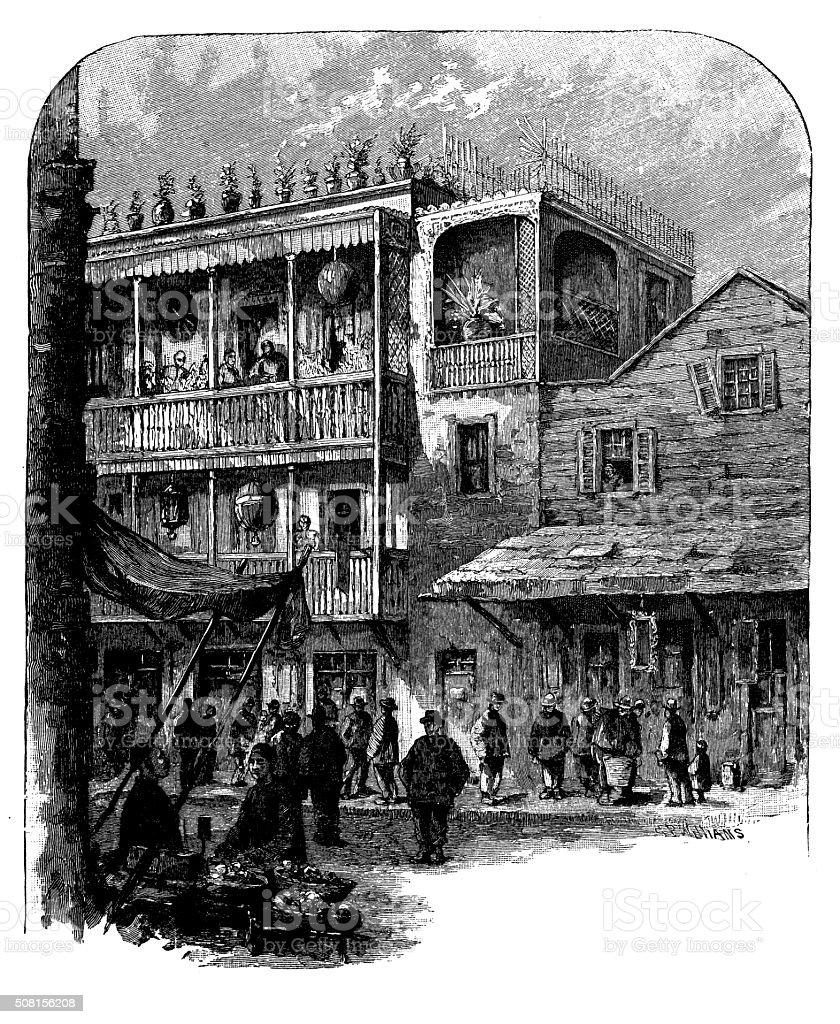 Antique illustration of San Francisco Chinatown vector art illustration