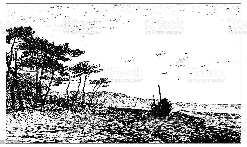 Antique illustration of sand dunes of Pylat and beach vector art illustration