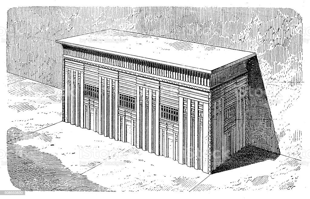Antique illustration of sarcophagus of Menkaure pyramid vector art illustration