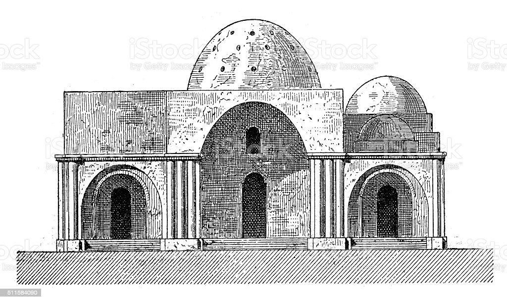 Antique illustration of Sarvestan palace (Fars Province, Iran) vector art illustration