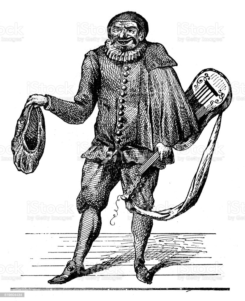 Antique illustration of Scaramouche on stage vector art illustration