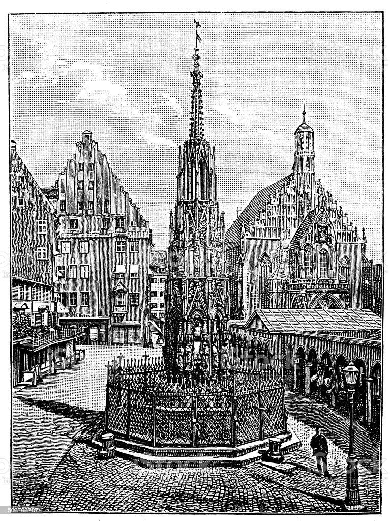 Antique illustration of Schöner Brunnen fountain in Nuremberg royalty-free stock vector art