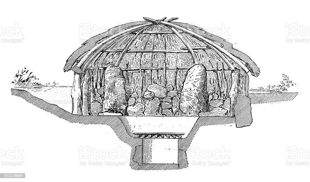 Antique illustration of section of Gallic house vector art illustration