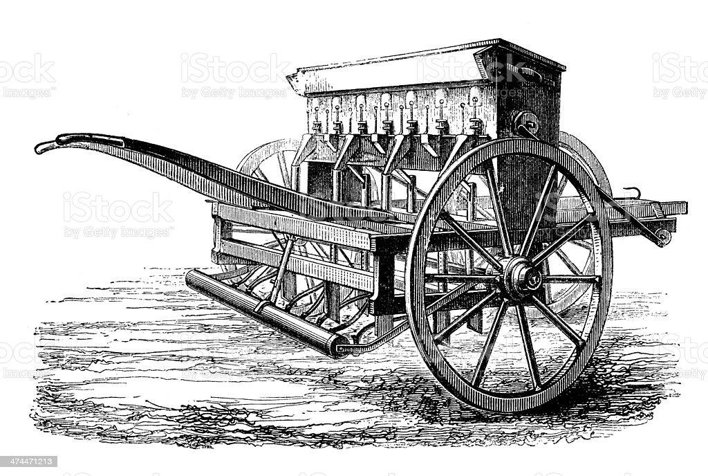 Antique illustration of Seed drill vector art illustration