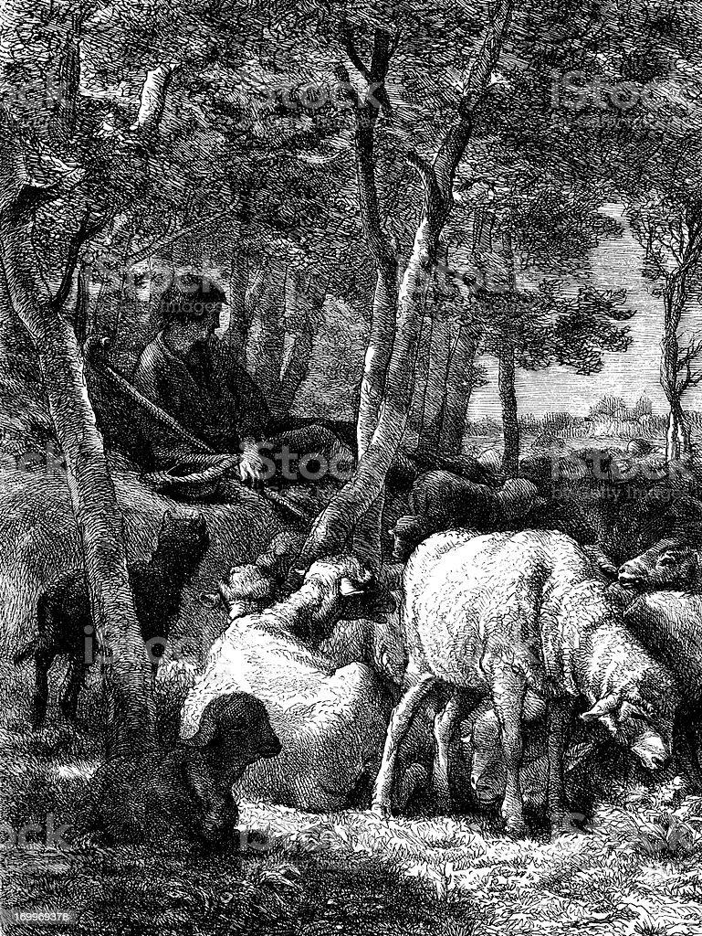 Antique illustration of shepherd royalty-free stock vector art