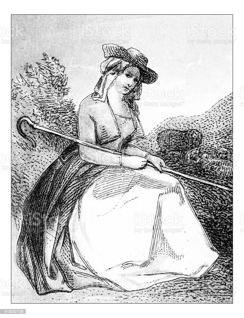 Antique illustration of shepherd vector art illustration