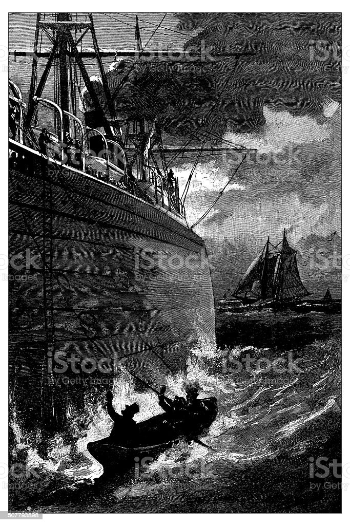 Antique illustration of ship and boat vector art illustration