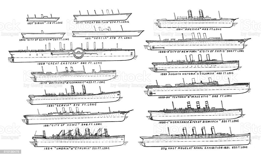 Antique illustration of ship: Atlantic liners vector art illustration