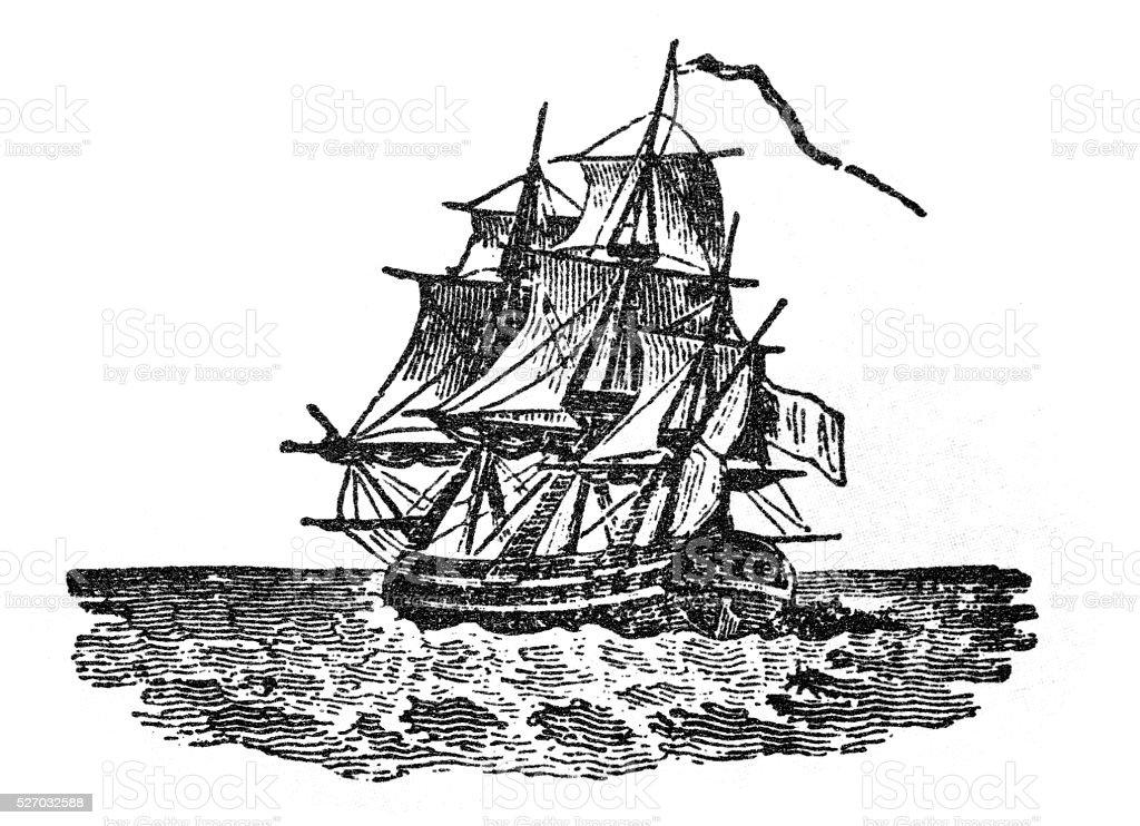 Antique illustration of ship vector art illustration