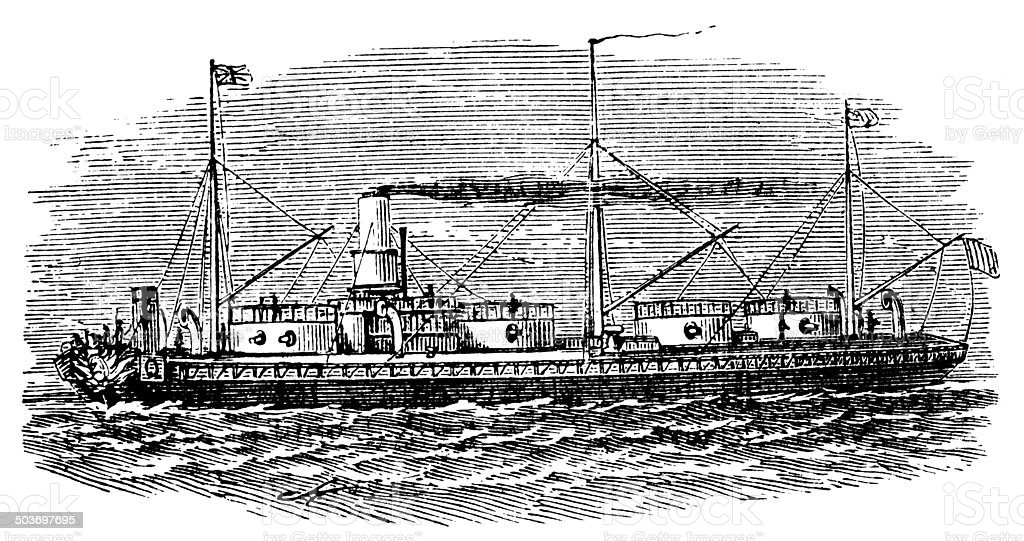 Antique illustration of ship: Royal Sovereign royalty-free stock vector art