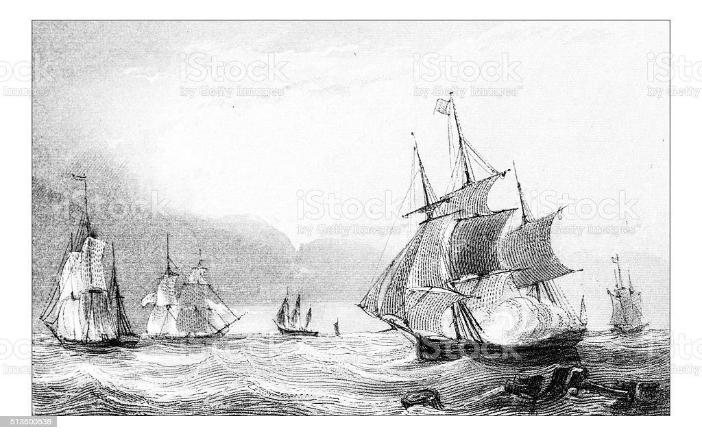 Antique illustration of ships in sea vector art illustration