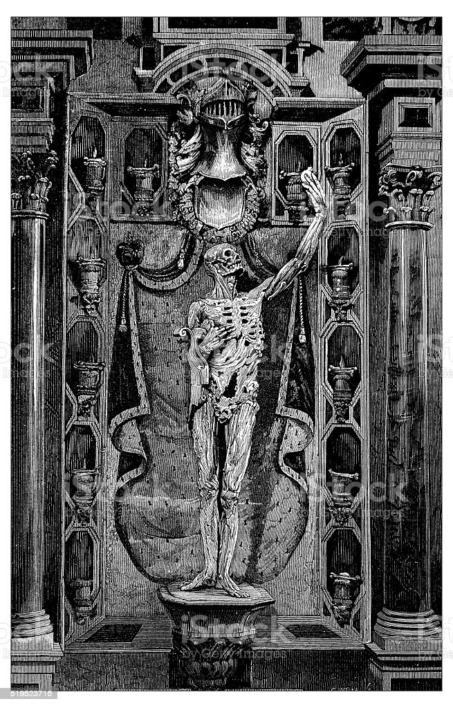 Antique illustration of skeleton of man clutching his heart vector art illustration