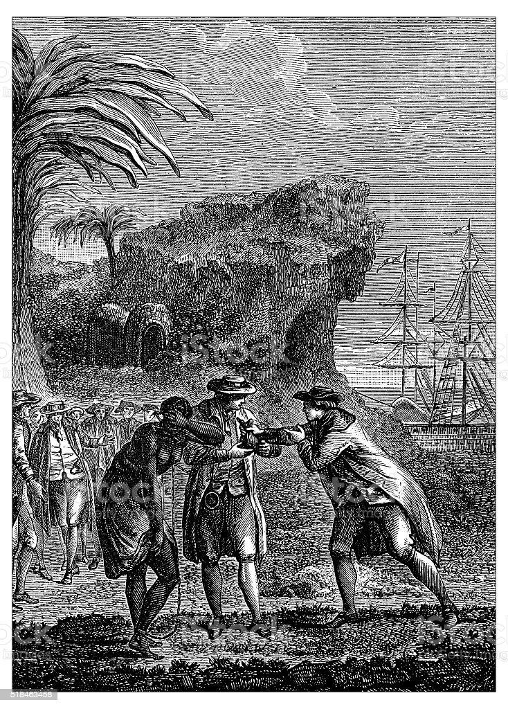 Antique illustration of slave trading vector art illustration