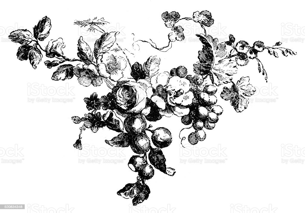 Antique illustration of small fruit and flower garland vector art illustration