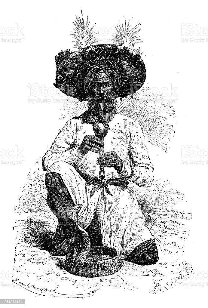 Antique illustration of snake charmer vector art illustration