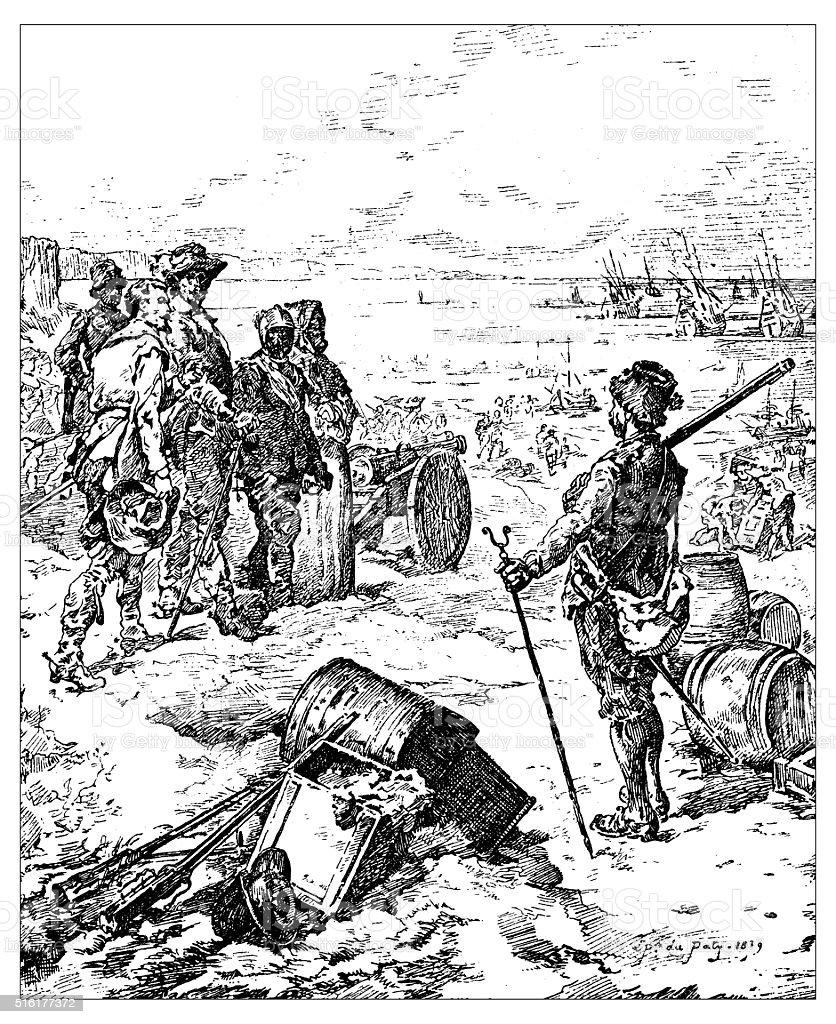Antique illustration of soldiers about the board vector art illustration