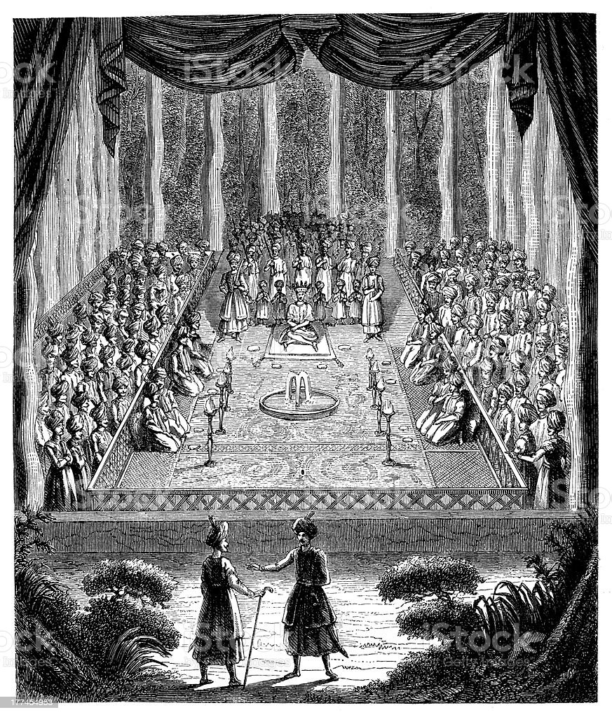 Antique illustration of Soliman coronation in Persia royalty-free stock vector art