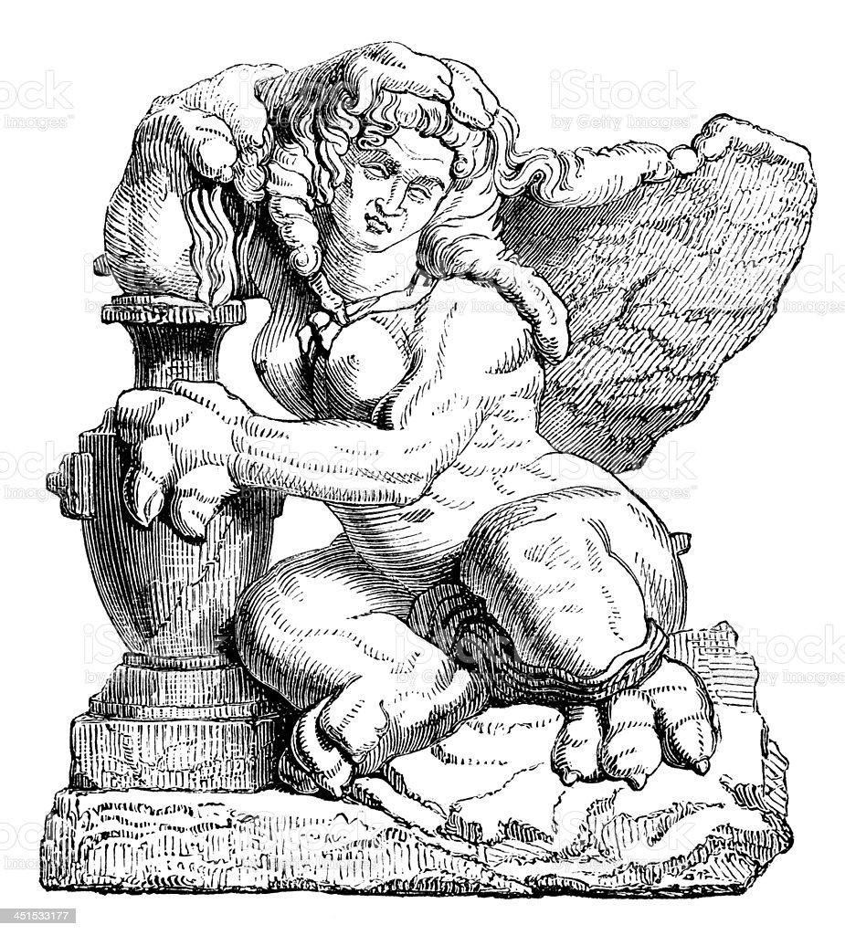 Antique illustration of sphinx vector art illustration