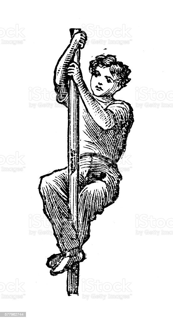 Antique illustration of sports and exercises: Artistic Gymnastic The Pole vector art illustration