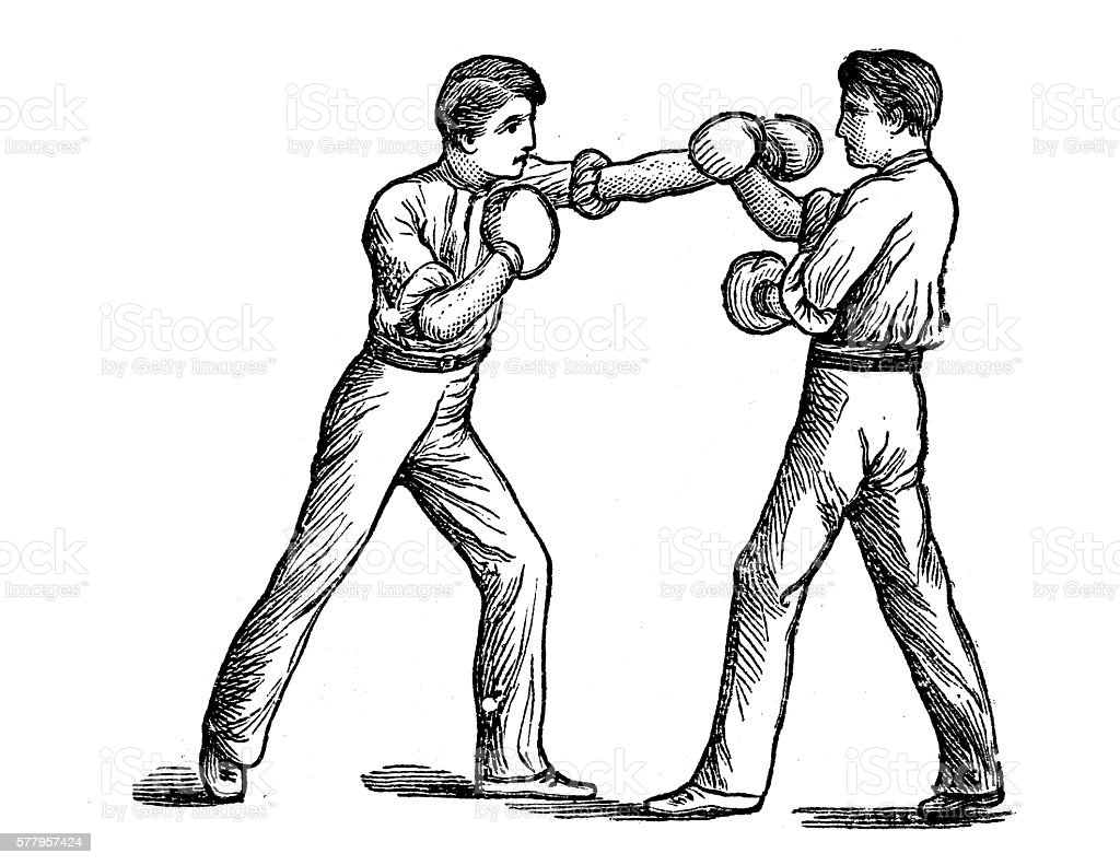 Antique illustration of sports and exercises: boxing vector art illustration