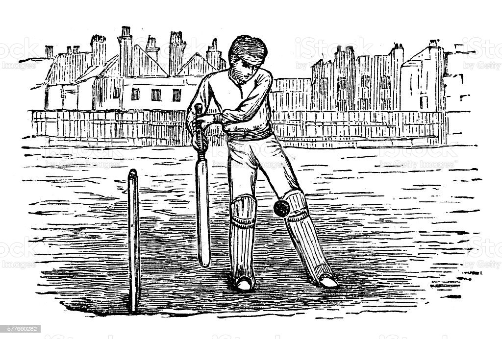 Antique illustration of sports and exercises: cricket vector art illustration