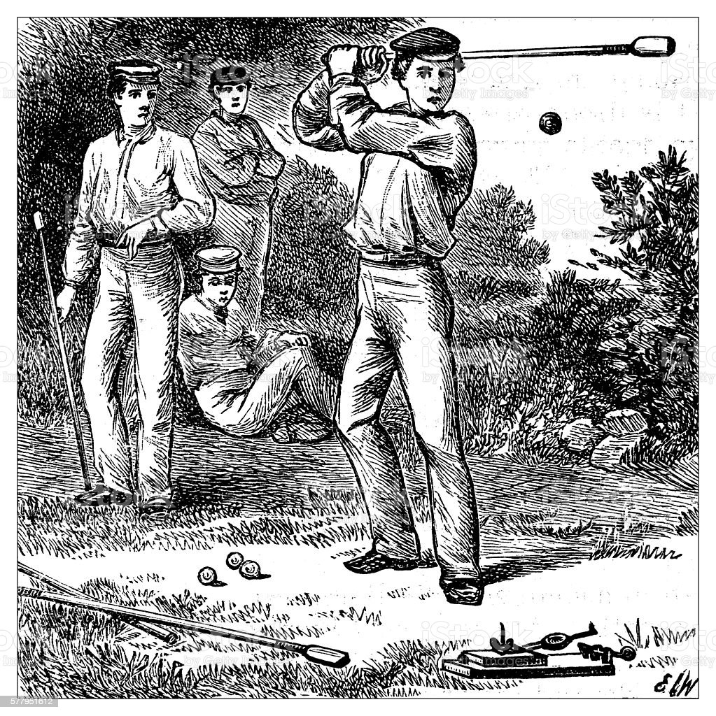 Antique illustration of sports and exercises: Knurr and Spell vector art illustration