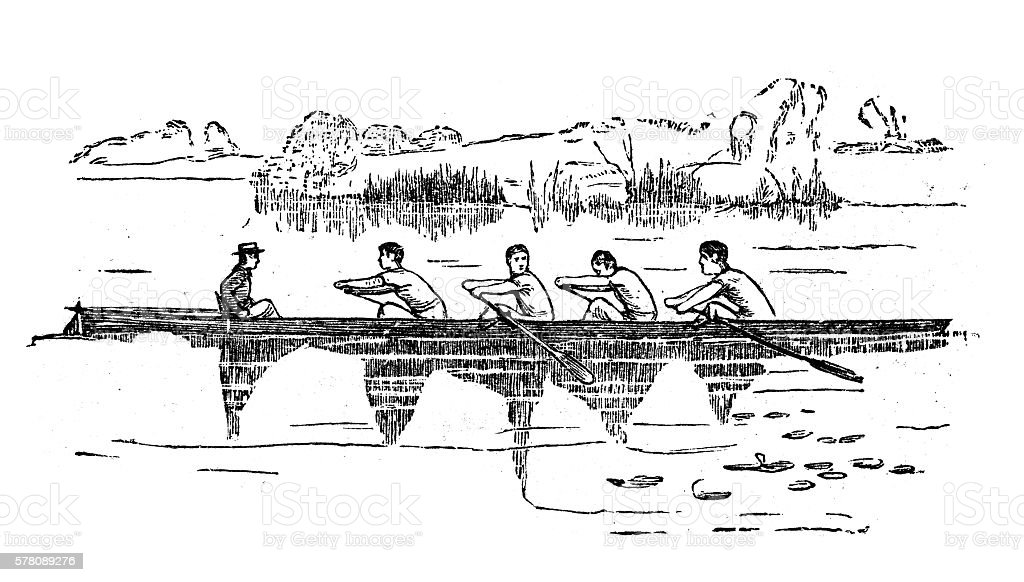 Antique illustration of sports and exercises: rowing vector art illustration