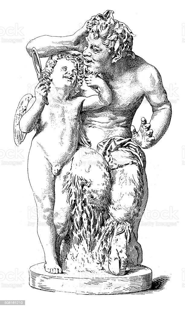 Antique illustration of statue of a Satyr with Eros vector art illustration