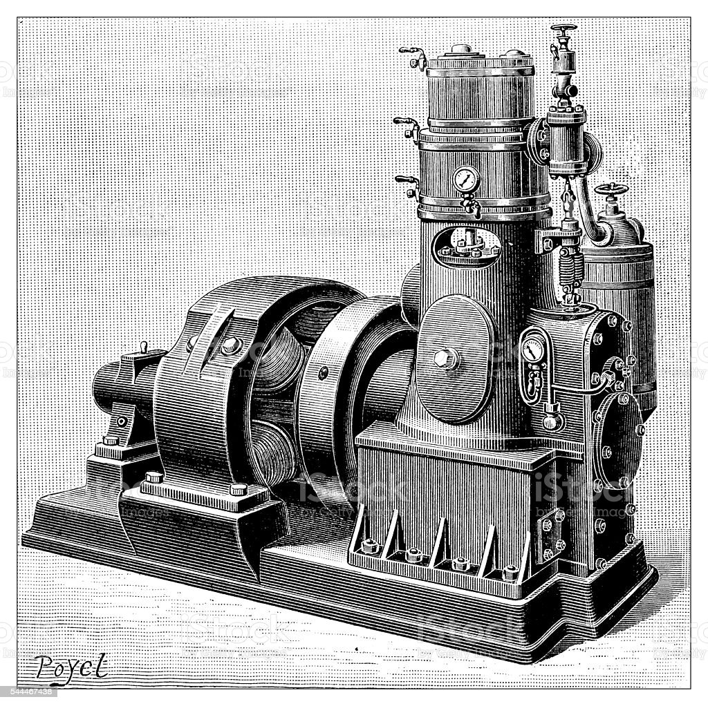 Antique illustration of steam machinery and engines vector art illustration