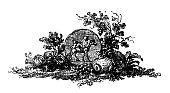 Antique illustration of still life