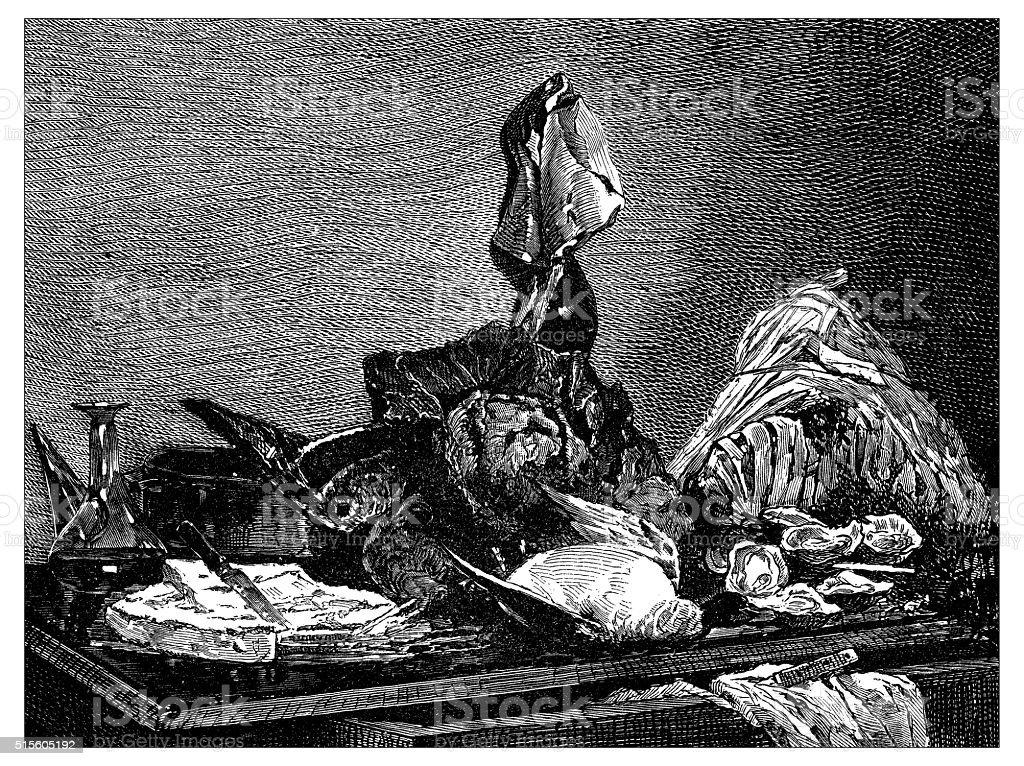 Antique illustration of still life with food vector art illustration