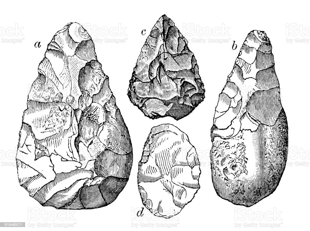 Antique illustration of Stone Age flint tools vector art illustration