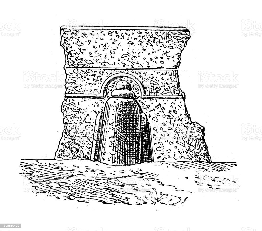 Antique illustration of stone peg vector art illustration