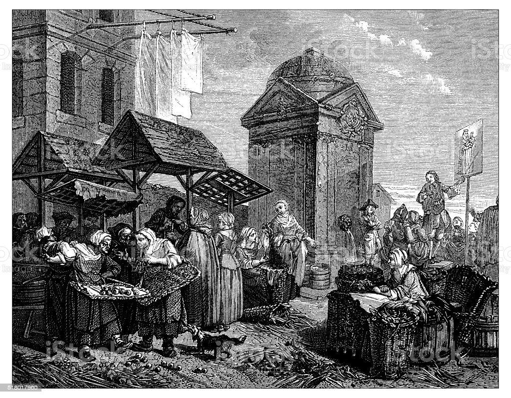 Antique illustration of street market vector art illustration