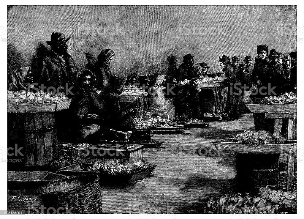 Antique illustration of street market in Washington vector art illustration