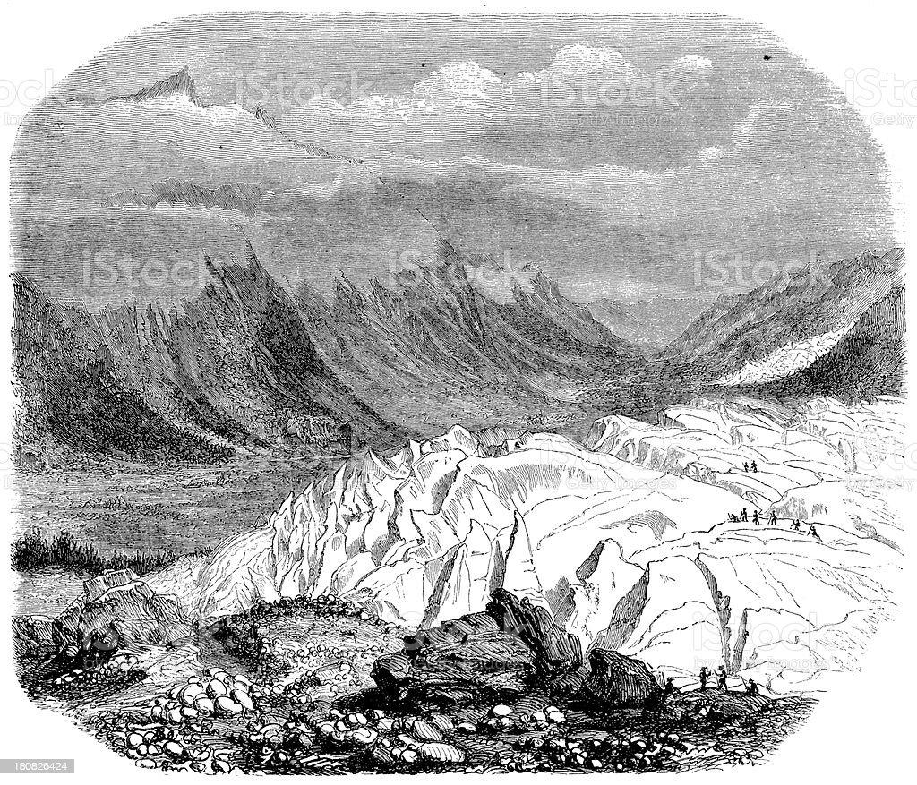 Antique illustration of swiss glacier royalty-free stock vector art