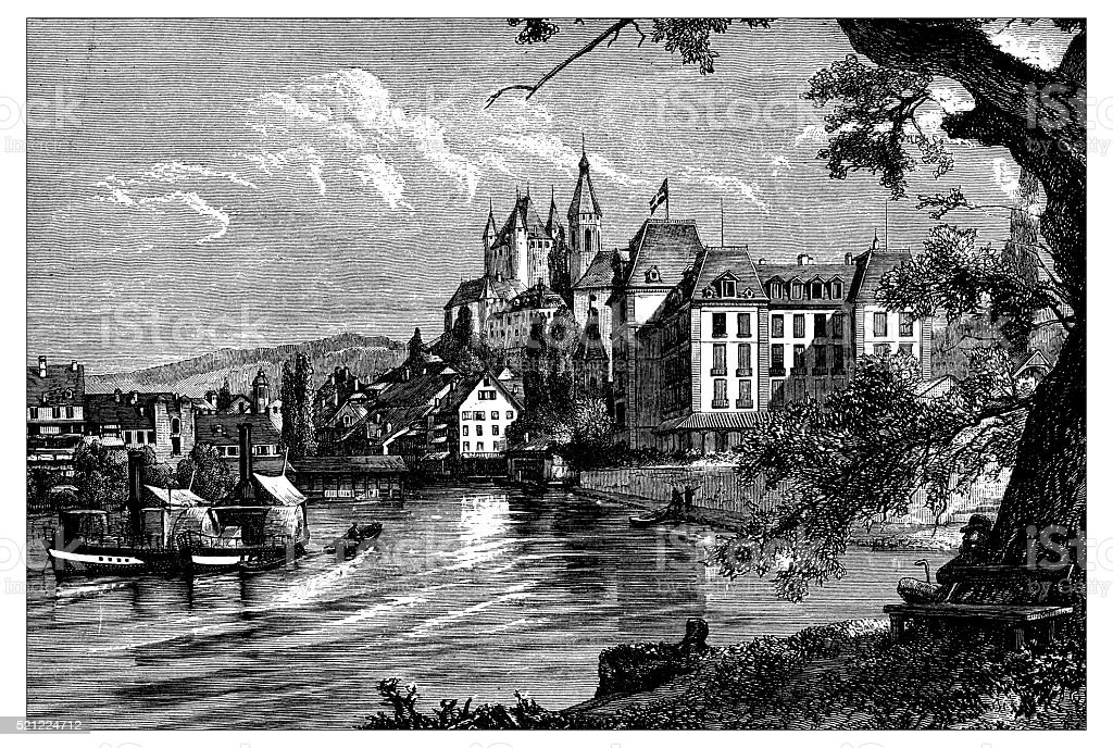 Antique illustration of Switzerland: Aar or Aare river in Thun vector art illustration