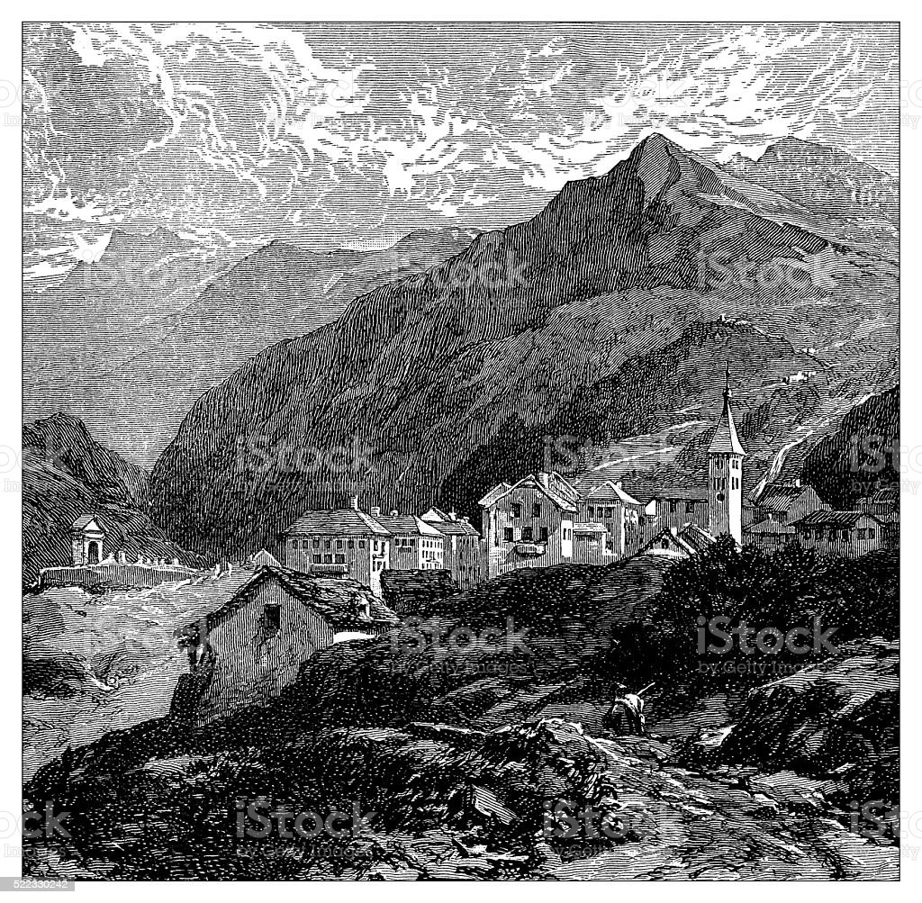 Antique illustration of Switzerland: Airolo vector art illustration