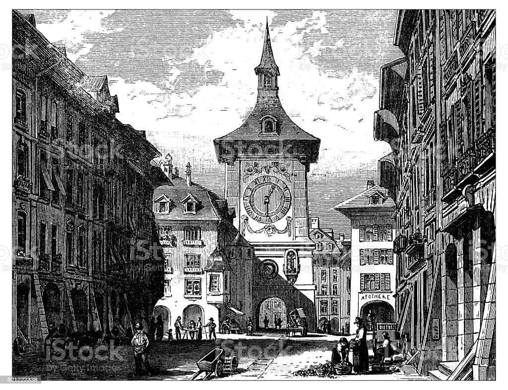 Antique illustration of Switzerland: Bern vector art illustration