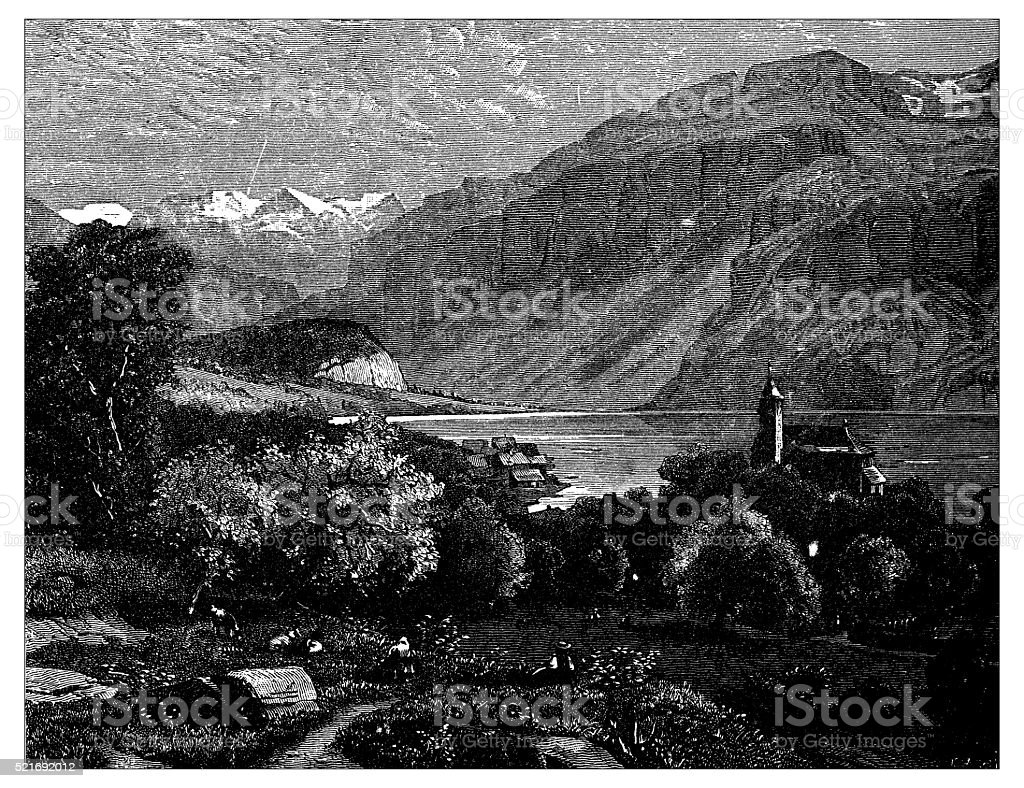 Antique illustration of Switzerland: Brienz vector art illustration