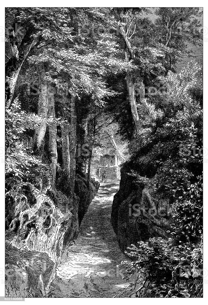 Antique illustration of Switzerland: Chemin Creux vector art illustration