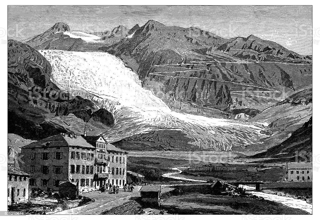 Antique illustration of Switzerland: Glacier du Rhone vector art illustration
