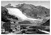 Antique illustration of Switzerland: Glacier du Rhone