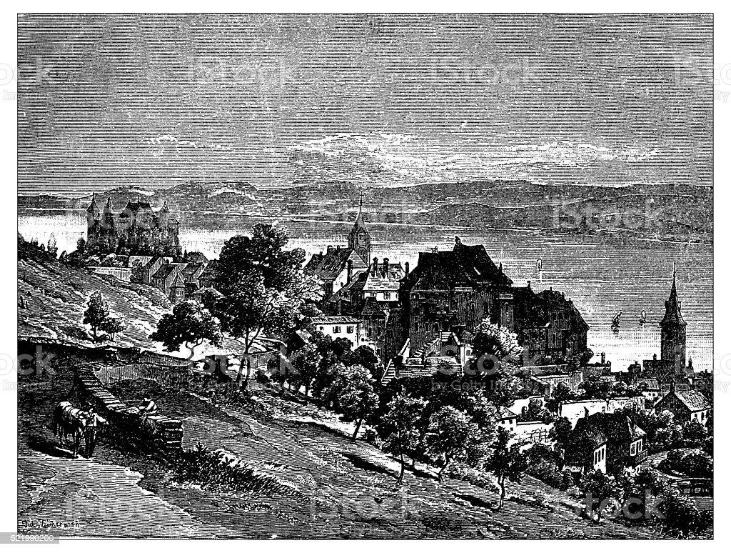 Antique illustration of Switzerland: Grandson vector art illustration