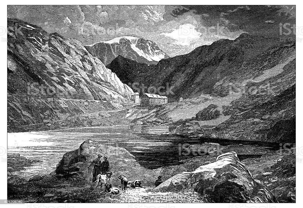 Antique illustration of Switzerland: Great St Bernard Hospice vector art illustration