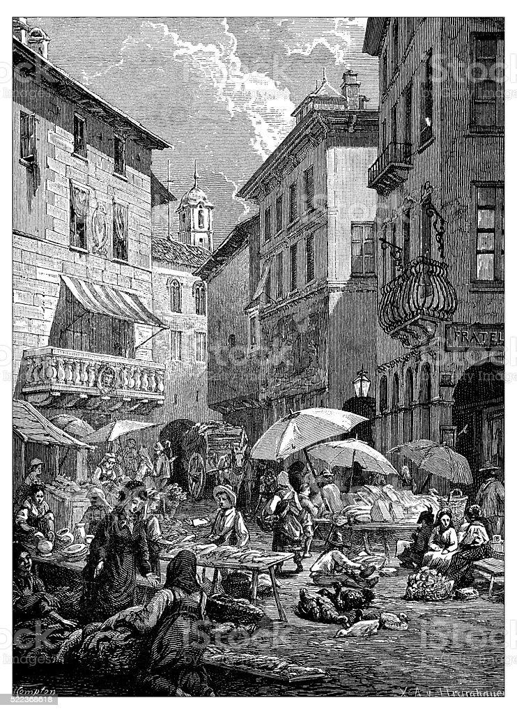 Antique illustration of Switzerland: Lugano street market vector art illustration