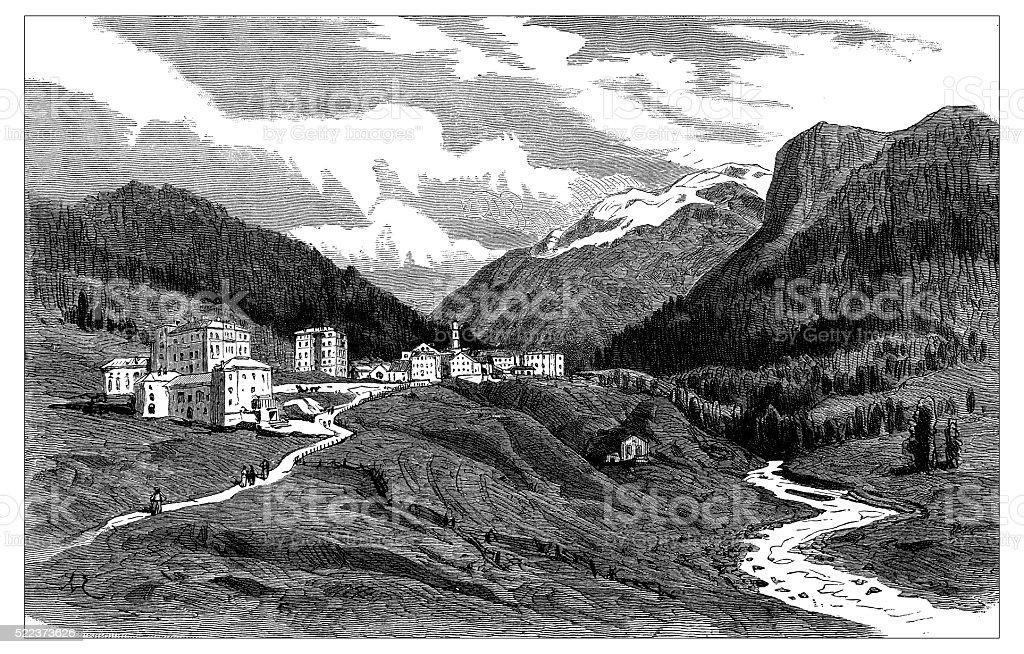 Antique illustration of Switzerland: Pontresina vector art illustration